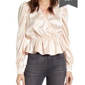 Chelsea28 jacquard peplum blouse